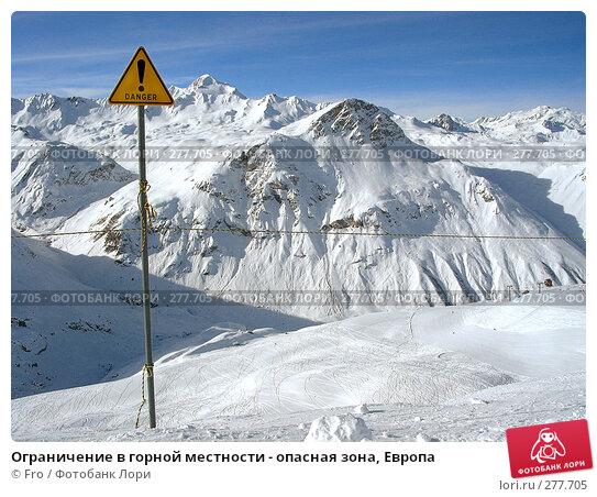 Ограничение в горной местности - опасная зона, Европа, фото № 277705, снято 9 января 2003 г. (c) Fro / Фотобанк Лори