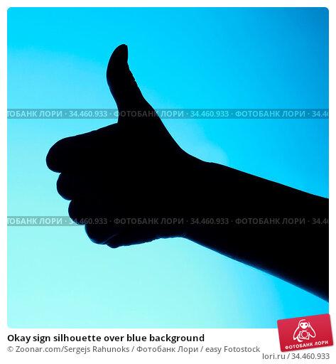 Okay sign silhouette over blue background. Стоковое фото, фотограф Zoonar.com/Sergejs Rahunoks / easy Fotostock / Фотобанк Лори