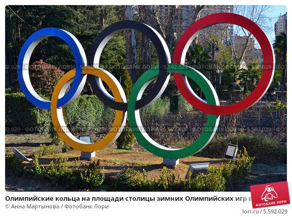 Купить «Олимпийские кольца на площади столицы зимних Олимпийских игр в 2014 году», фото № 5592029, снято 15 января 2014 г. (c) Анна Мартынова / Фотобанк Лори