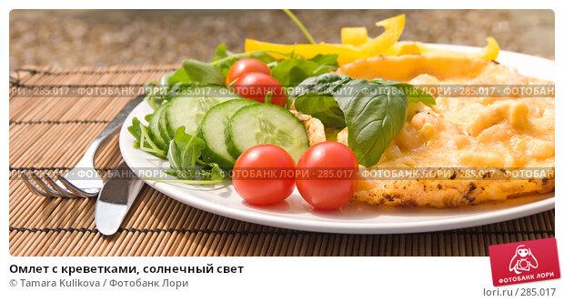 Купить «Омлет с креветками, солнечный свет», фото № 285017, снято 14 мая 2008 г. (c) Tamara Kulikova / Фотобанк Лори
