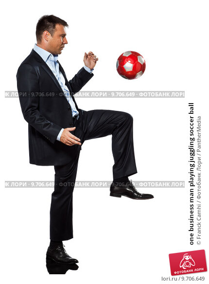 Купить «one business man playing juggling soccer ball», фото № 9706649, снято 14 октября 2019 г. (c) PantherMedia / Фотобанк Лори