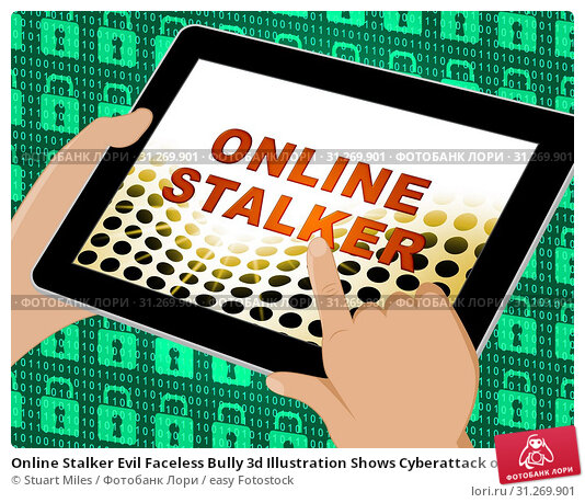 Купить «Online Stalker Evil Faceless Bully 3d Illustration Shows Cyberattack or Cyberbullying By A Suspicious Spying Stranger», фото № 31269901, снято 13 августа 2014 г. (c) easy Fotostock / Фотобанк Лори