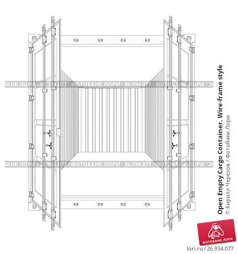 Open Empty Cargo Container. Wire-frame style, иллюстрация № 26934077 (c) Кирилл Черезов / Фотобанк Лори