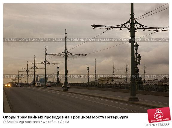 Опоры трамвайных проводов на Троицком мосту Петербурга, эксклюзивное фото № 178333, снято 20 апреля 2007 г. (c) Александр Алексеев / Фотобанк Лори