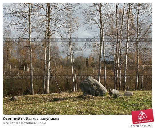 Осенний пейзаж с валунами, фото № 234253, снято 8 октября 2005 г. (c) VPutnik / Фотобанк Лори