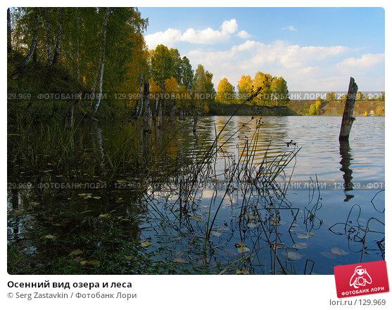 Осенний вид озера и леса, фото № 129969, снято 19 сентября 2004 г. (c) Serg Zastavkin / Фотобанк Лори