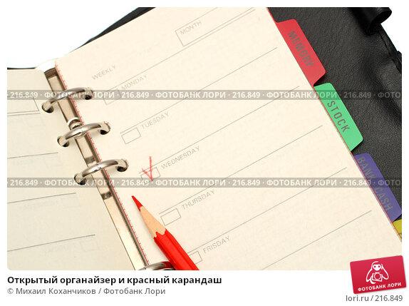 Открытый органайзер и красный карандаш, фото № 216849, снято 2 марта 2008 г. (c) Михаил Коханчиков / Фотобанк Лори