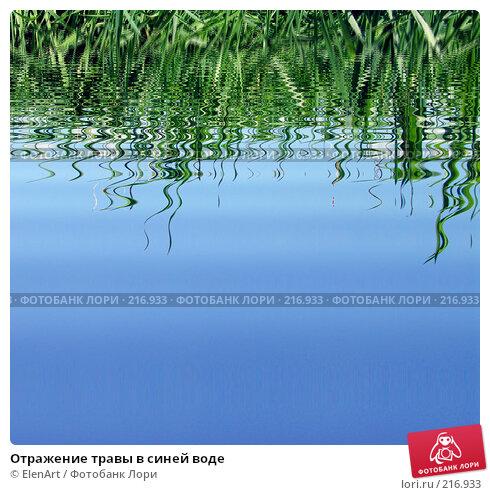 Отражение травы в синей воде, фото № 216933, снято 24 августа 2017 г. (c) ElenArt / Фотобанк Лори