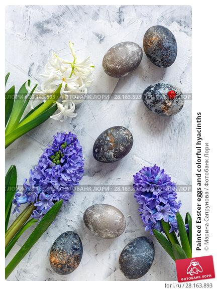 Купить «Painted Easter eggs and colorful hyacinths», фото № 28163893, снято 12 марта 2018 г. (c) Марина Сапрунова / Фотобанк Лори