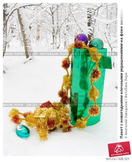 Купить «Пакет с новогодними елочными украшениями на фоне заснеженного леса», фото № 328321, снято 11 ноября 2006 г. (c) Анатолий Заводсков / Фотобанк Лори