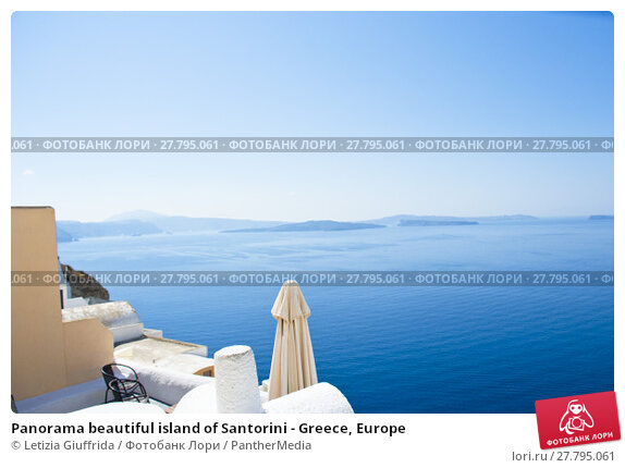 Купить «Panorama beautiful island of Santorini - Greece, Europe», фото № 27795061, снято 20 октября 2018 г. (c) PantherMedia / Фотобанк Лори