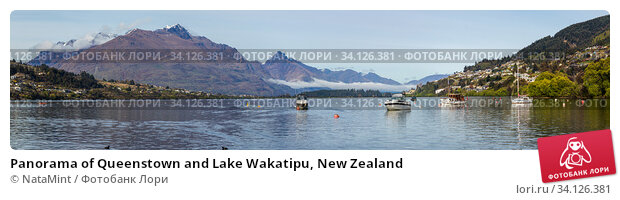 Купить «Panorama of Queenstown and Lake Wakatipu, New Zealand», фото № 34126381, снято 14 октября 2019 г. (c) NataMint / Фотобанк Лори