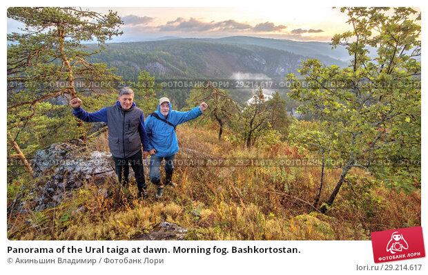Купить «Panorama of the Ural taiga at dawn. Morning fog. Bashkortostan.», фото № 29214617, снято 9 сентября 2017 г. (c) Акиньшин Владимир / Фотобанк Лори