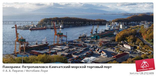 Купить «Панорама: Петропавловск-Камчатский морской торговый порт», фото № 28212609, снято 3 октября 2017 г. (c) А. А. Пирагис / Фотобанк Лори