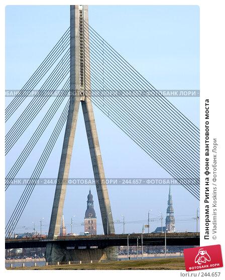 Панорама Риги на фоне вантового моста, фото № 244657, снято 8 марта 2007 г. (c) Vladimirs Koskins / Фотобанк Лори