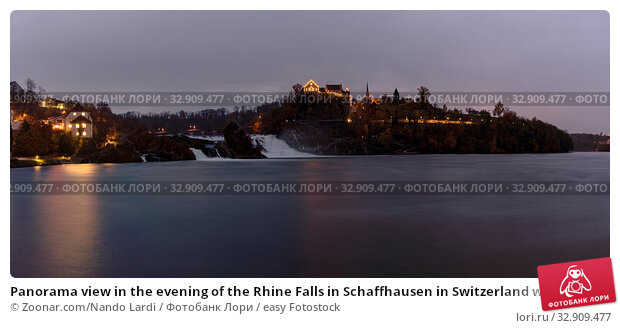 Panorama view in the evening of the Rhine Falls in Schaffhausen in Switzerland with Laufen Castle in the background and historic low water levels. Стоковое фото, фотограф Zoonar.com/Nando Lardi / easy Fotostock / Фотобанк Лори
