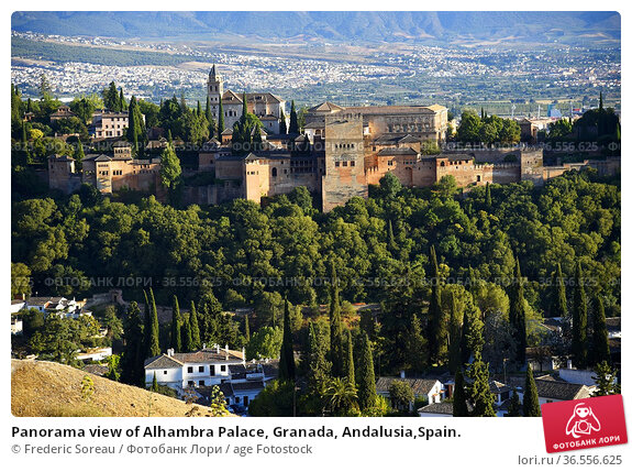 Panorama view of Alhambra Palace, Granada, Andalusia,Spain. Стоковое фото, фотограф Frederic Soreau / age Fotostock / Фотобанк Лори