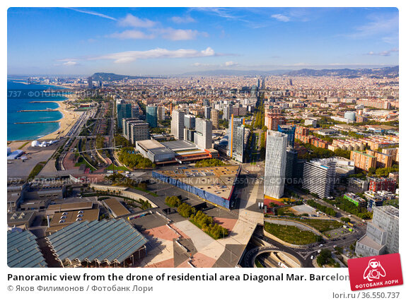 Panoramic view from the drone of residential area Diagonal Mar. Barcelona. Spain (2019 год). Редакционное фото, фотограф Яков Филимонов / Фотобанк Лори