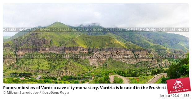Купить «Panoramic view of Vardzia cave city-monastery. Vardzia is located in the Erusheti Mountain», фото № 29011685, снято 20 мая 2019 г. (c) Mikhail Starodubov / Фотобанк Лори