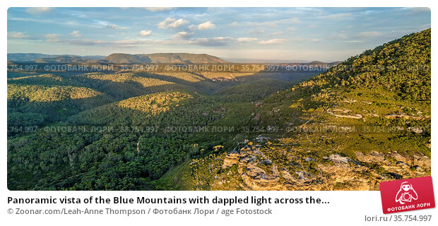 Panoramic vista of the Blue Mountains with dappled light across the... Стоковое фото, фотограф Zoonar.com/Leah-Anne Thompson / age Fotostock / Фотобанк Лори