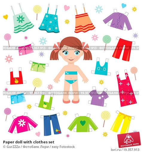 Купить «Paper doll with clothes set», фото № 19357913, снято 27 августа 2019 г. (c) easy Fotostock / Фотобанк Лори