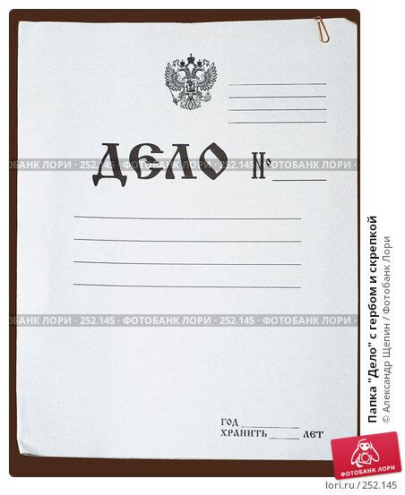 """Папка """"Дело"""" с гербом и скрепкой, эксклюзивное фото № 252145, снято 15 апреля 2008 г. (c) Александр Щепин / Фотобанк Лори"""