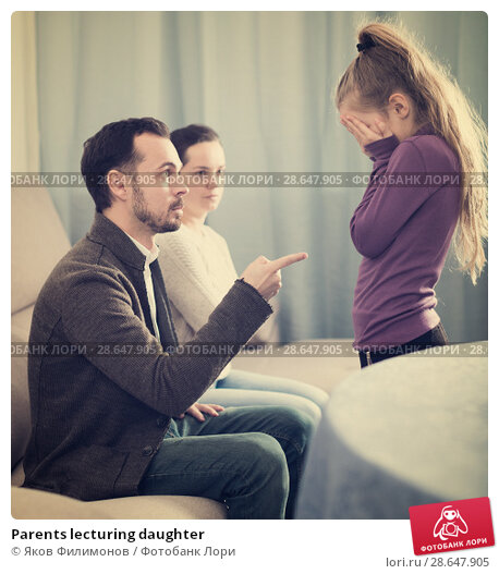 Купить «Parents lecturing daughter», фото № 28647905, снято 19 сентября 2018 г. (c) Яков Филимонов / Фотобанк Лори