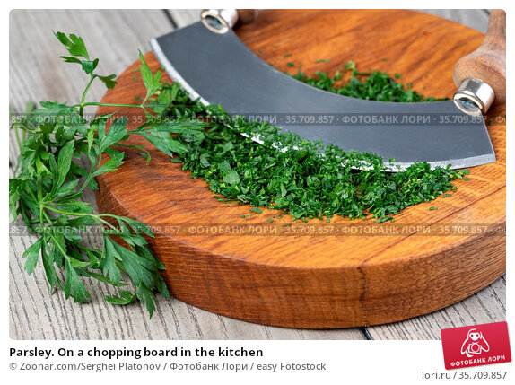 Parsley. On a chopping board in the kitchen. Стоковое фото, фотограф Zoonar.com/Serghei Platonov / easy Fotostock / Фотобанк Лори