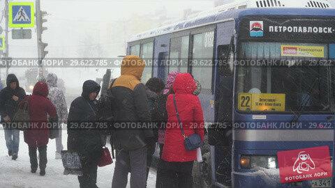 Купить «Пассажиры садятся в городской автобус во время метели», видеоролик № 29622785, снято 28 декабря 2018 г. (c) А. А. Пирагис / Фотобанк Лори