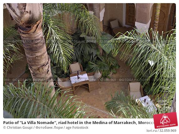 Patio of ''La Villa Nomade'', riad hotel in the Medina of Marrakech, Morocco, North West Africa. (2019 год). Редакционное фото, фотограф Christian Goupi / age Fotostock / Фотобанк Лори
