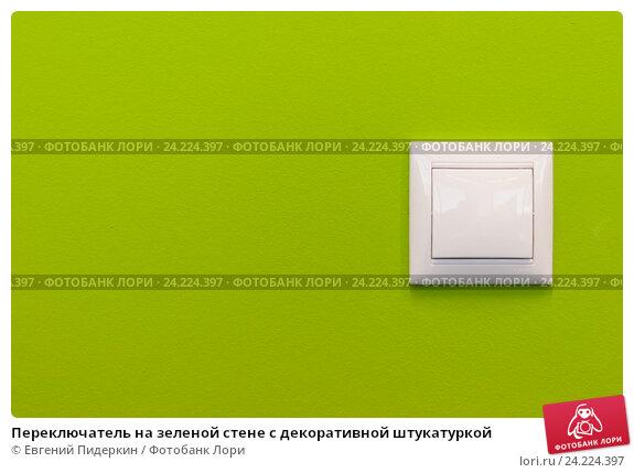 Переключатель на зеленой стене с декоративной штукатуркой. Стоковое фото, фотограф Евгений Пидеркин / Фотобанк Лори
