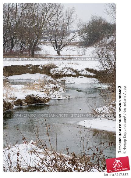 Петляющая горная речка зимой, фото № 217557, снято 18 февраля 2008 г. (c) Федор Королевский / Фотобанк Лори