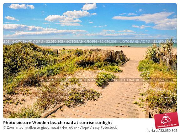 Photo picture Wooden beach road at sunrise sunlight. Стоковое фото, фотограф Zoonar.com/alberto giacomazzi / easy Fotostock / Фотобанк Лори