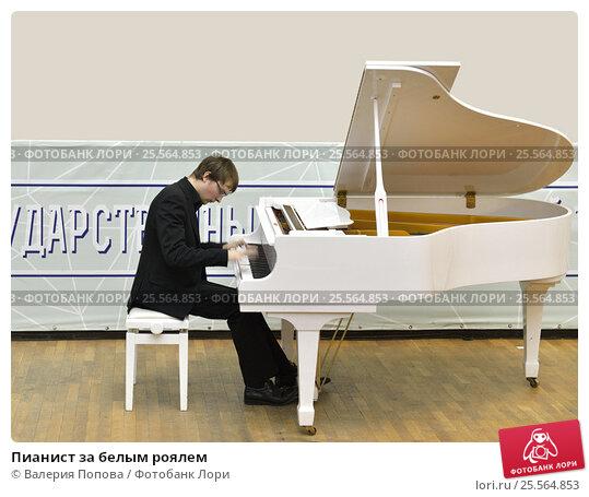Пианист за белым роялем, фото № 25564853, снято 14 февраля 2017 г. (c) Валерия Попова / Фотобанк Лори