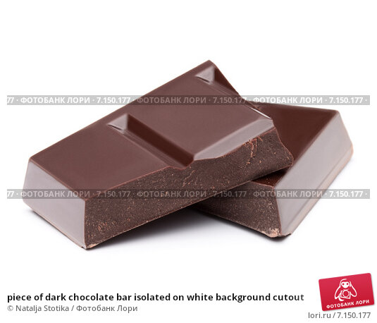 Купить «piece of dark chocolate bar isolated on white background cutout», фото № 7150177, снято 3 февраля 2015 г. (c) Natalja Stotika / Фотобанк Лори