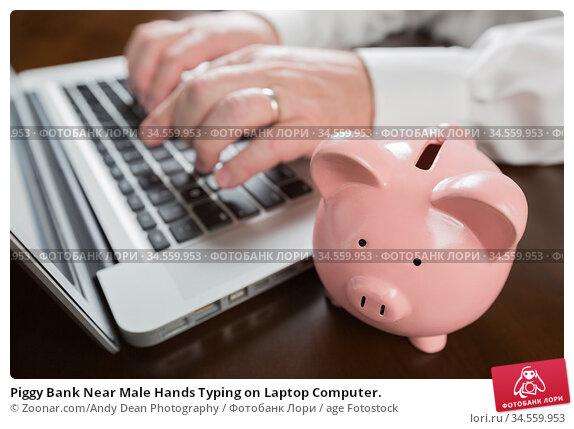 Piggy Bank Near Male Hands Typing on Laptop Computer. Стоковое фото, фотограф Zoonar.com/Andy Dean Photography / age Fotostock / Фотобанк Лори