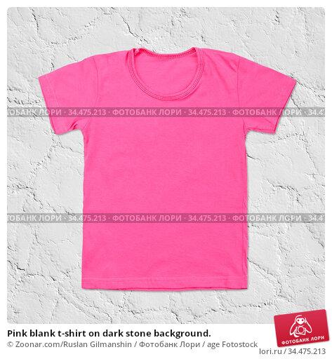 Pink blank t-shirt on dark stone background. Стоковое фото, фотограф Zoonar.com/Ruslan Gilmanshin / age Fotostock / Фотобанк Лори