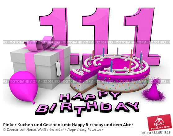 Pinker Kuchen und Geschenk mit Happy Birthday und dem Alter. Стоковое фото, фотограф Zoonar.com/Jonas Wolff / easy Fotostock / Фотобанк Лори