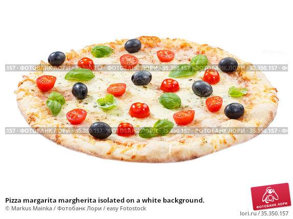 Pizza margarita margherita isolated on a white background. Стоковое фото, фотограф Markus Mainka / easy Fotostock / Фотобанк Лори
