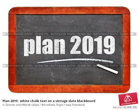 Plan 2019 - white chalk text on a vintage slate blackboard. Стоковое фото, фотограф Zoonar.com/Marek Uliasz / easy Fotostock / Фотобанк Лори
