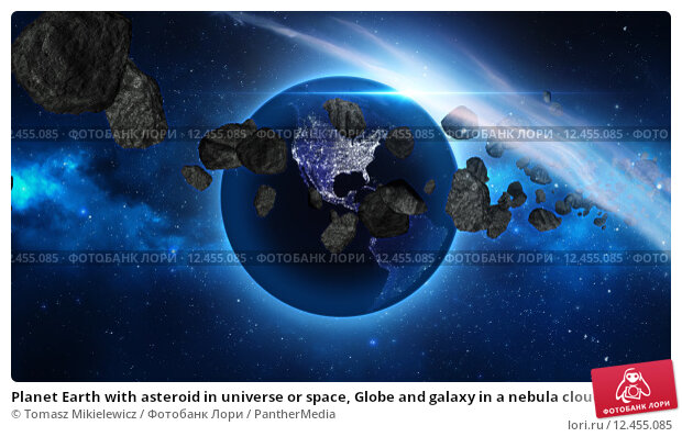 Купить «Planet Earth with asteroid in universe or space, Globe and galaxy in a nebula cloud with meteors», иллюстрация № 12455085 (c) PantherMedia / Фотобанк Лори