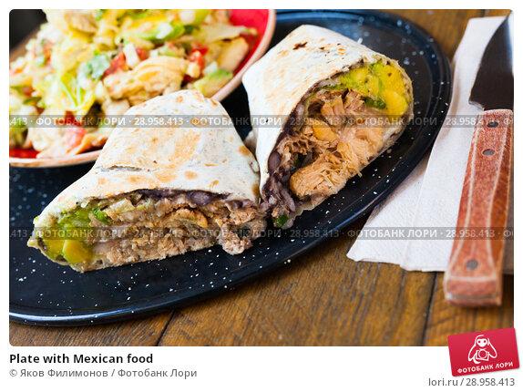Купить «Plate with Mexican food», фото № 28958413, снято 18 мая 2019 г. (c) Яков Филимонов / Фотобанк Лори