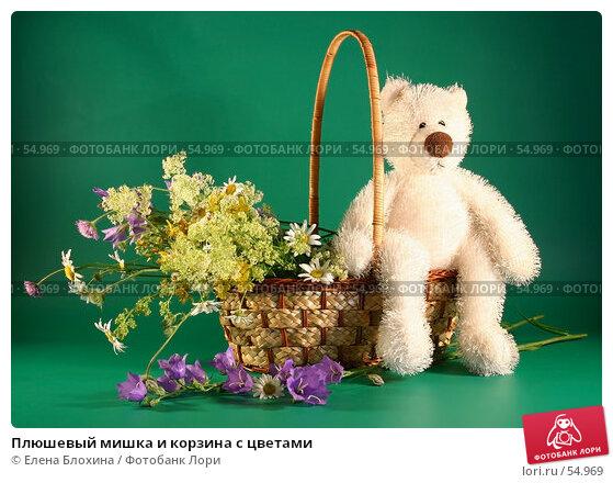 Плюшевый мишка и корзина с цветами, фото № 54969, снято 22 июня 2007 г. (c) Елена Блохина / Фотобанк Лори