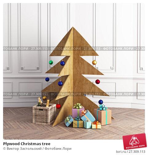 Купить «Plywood Christmas tree», фото № 27309113, снято 13 января 2018 г. (c) Виктор Застольский / Фотобанк Лори