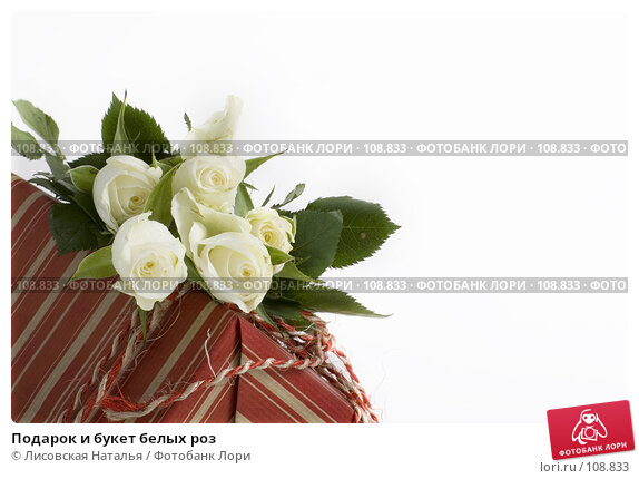 Подарок и букет белых роз, фото № 108833, снято 2 ноября 2007 г. (c) Лисовская Наталья / Фотобанк Лори
