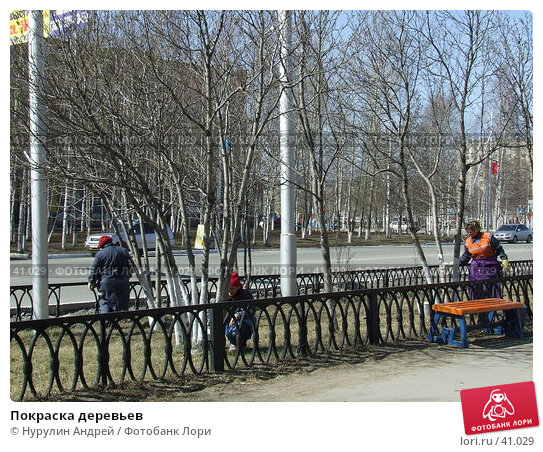 Покраска деревьев, фото № 41029, снято 6 мая 2007 г. (c) Нурулин Андрей / Фотобанк Лори