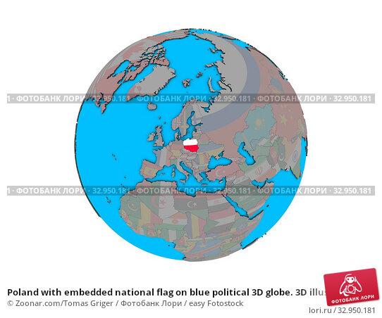 Poland with embedded national flag on blue political 3D globe. 3D illustration isolated on white background. Стоковое фото, фотограф Zoonar.com/Tomas Griger / easy Fotostock / Фотобанк Лори