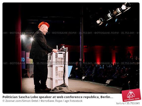 Politician Sascha Lobo speaker at web conference republica, Berlin... Стоковое фото, фотограф Zoonar.com/Simon Detel / age Fotostock / Фотобанк Лори