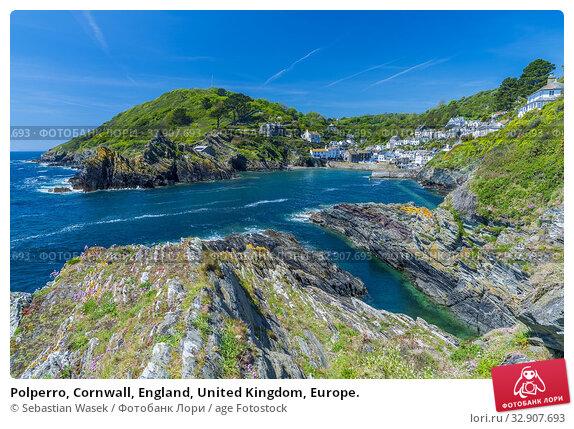Polperro, Cornwall, England, United Kingdom, Europe. Стоковое фото, фотограф Sebastian Wasek / age Fotostock / Фотобанк Лори