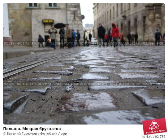 Польша. Мокрая брусчатка, фото № 92789, снято 2 января 2005 г. (c) Евгений Горюнов / Фотобанк Лори